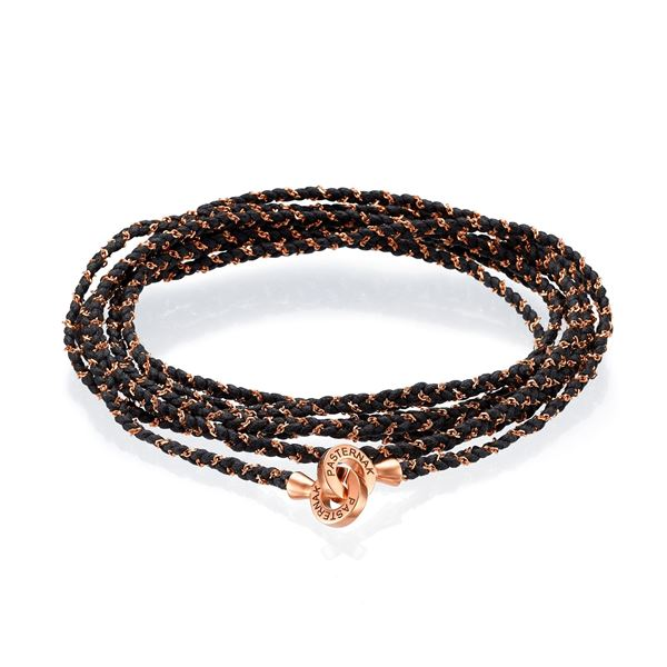 Integrated Black Cotton String and 18K Rose Gold Chain  Extra Long Bracelet