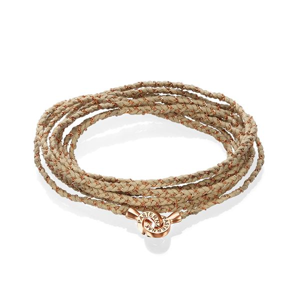 Integrated beige Cotton String and 18K Rose Gold Chain  Extra Long Bracelet
