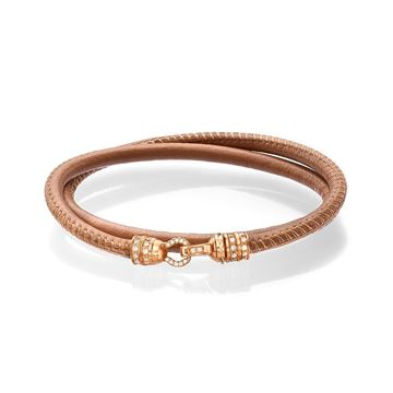 Nappa Leather Bracelet with 18K Rose Gold Lock set with Diamonds