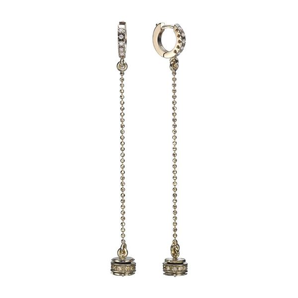 18K White Hanging Earrings Designd with a Special Element set with White and Champagne Diamonds