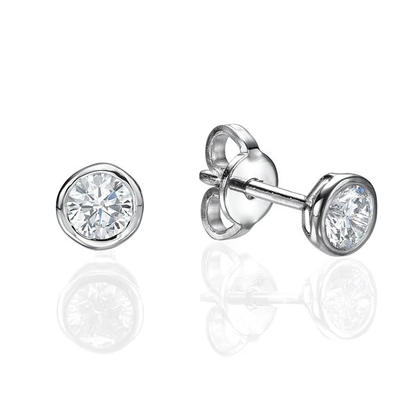 white gold Bezel Set Earrings