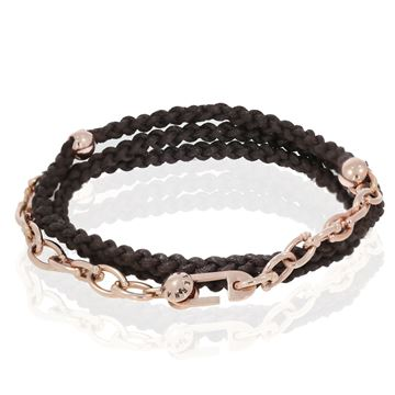 תמונה של 18K Rose Gold Chain with cotton Bracelet