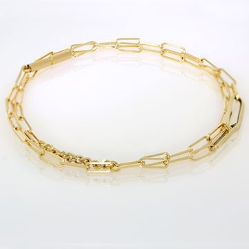 תמונה של 18K Yellow Diamond Square Link Chain